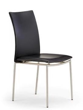 Danish black leather dining chair