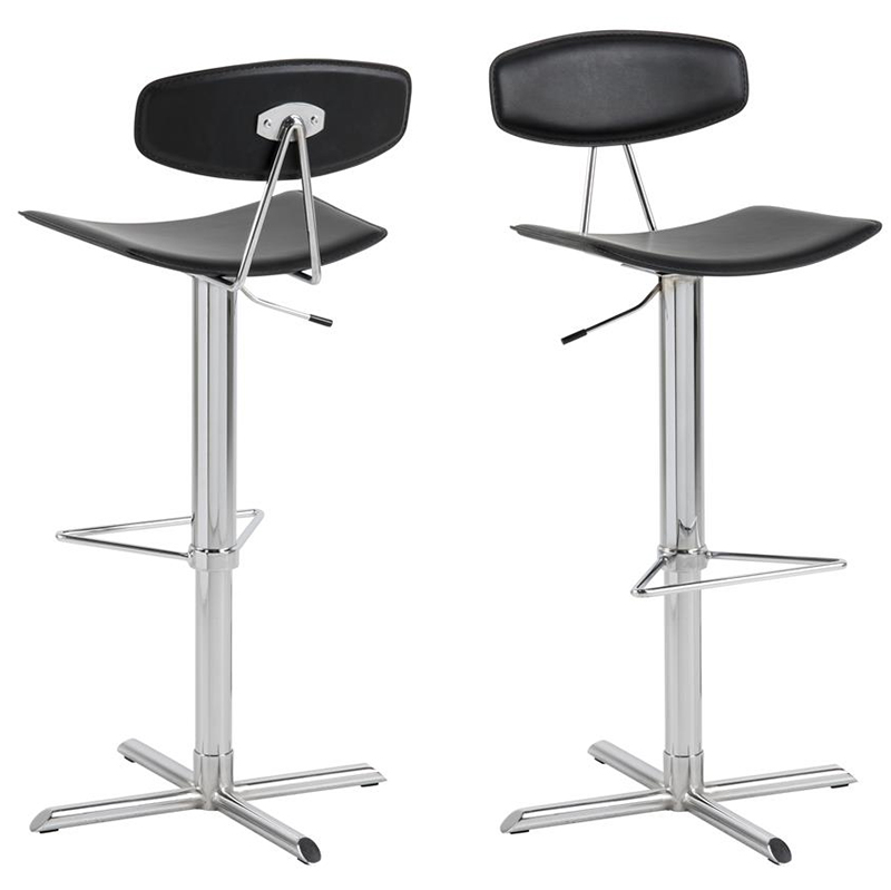 Blaise black / chrome bar stool