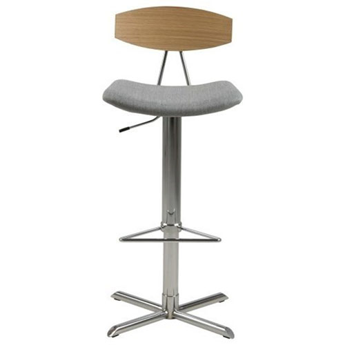 Blaise grey / wood / chrome barstool