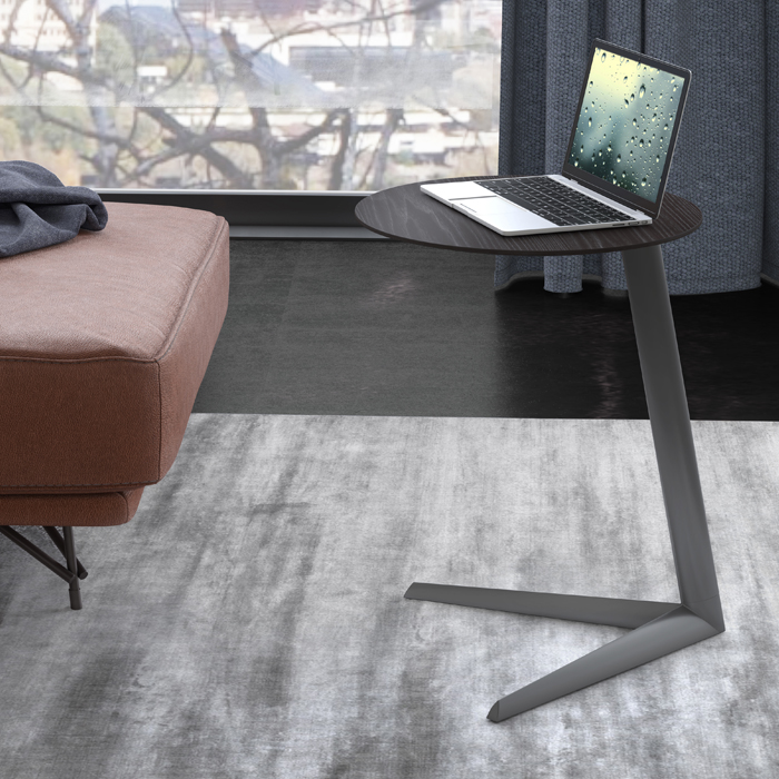 Milo side table in charcoal finish