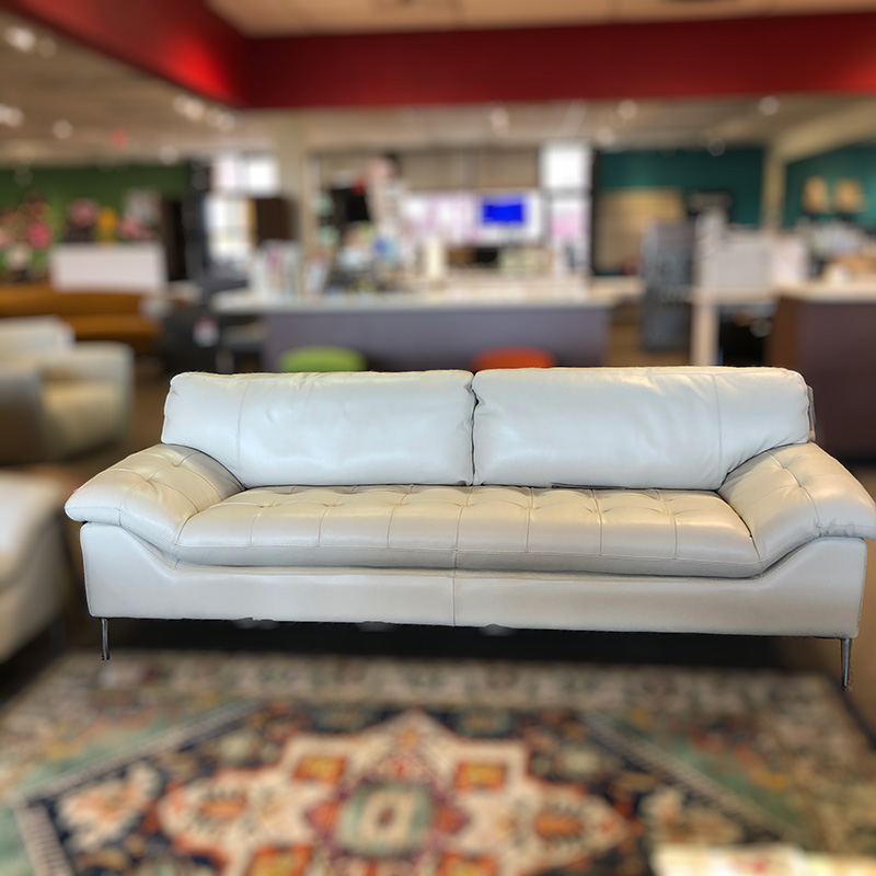 C211 light grey leather sofa