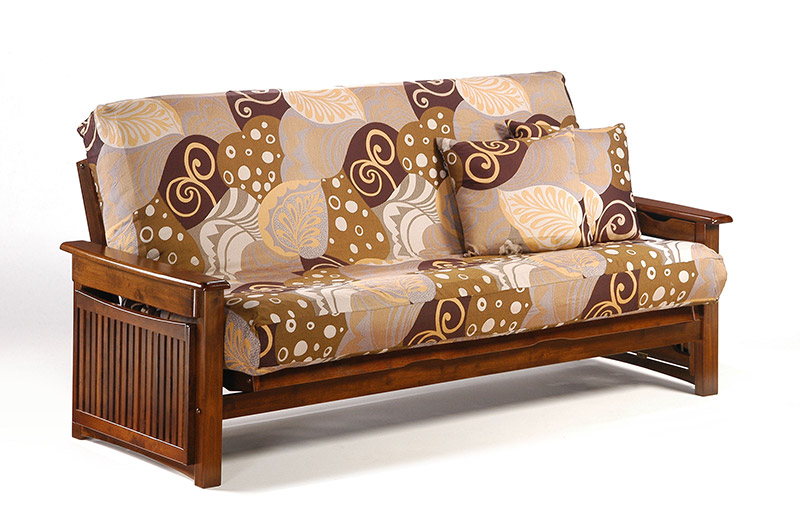 Raindrop walnut full futon frame