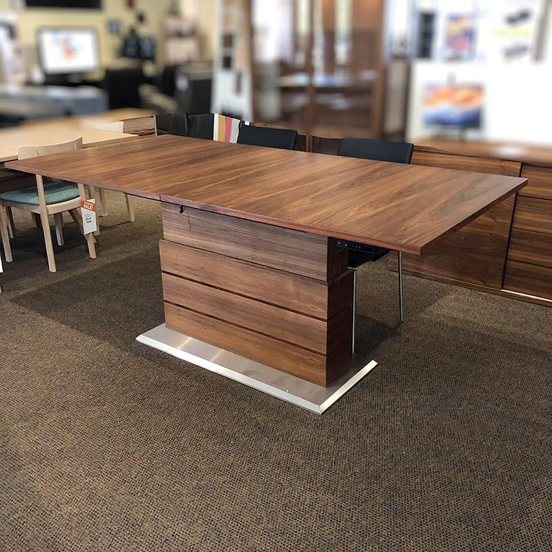 SM 30 height adjustable walnut dining table