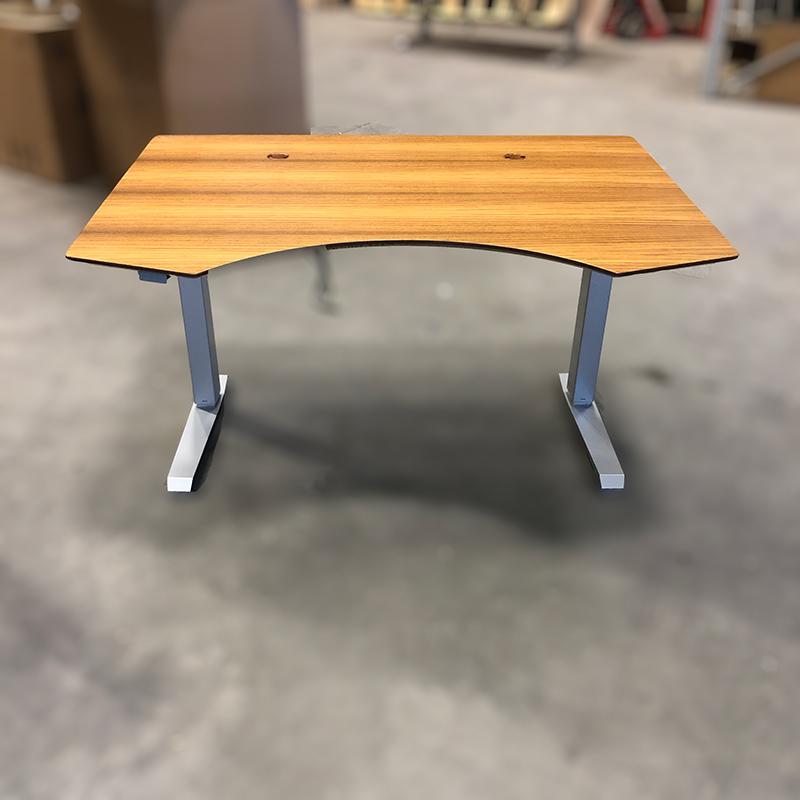 Teak sit-stand desk